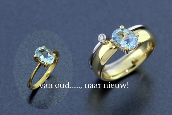 Van oude ring, een nieuwe gemaakt. Aangevuld met witgoud en briljant.