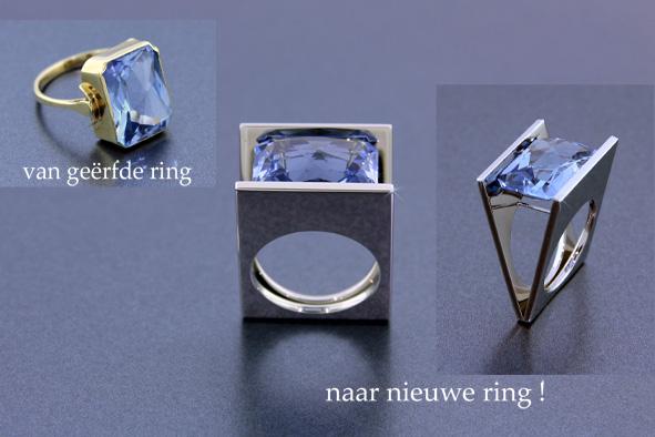 Van antieke ring, een nieuwe strakke ring gemaakt. Die meer bij de nieuwe eigenaar past.