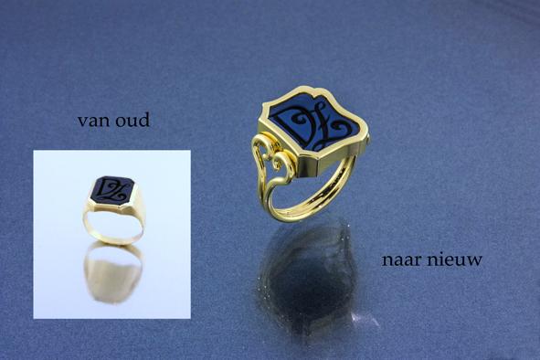 Moderniseren Van geërfde kapotte zegelring, een nieuwe dames ring gemaakt.