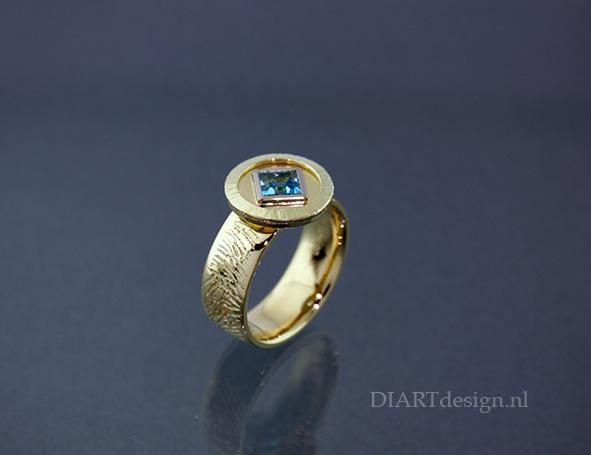 Gouden ring met vingerafdruk en topaas.