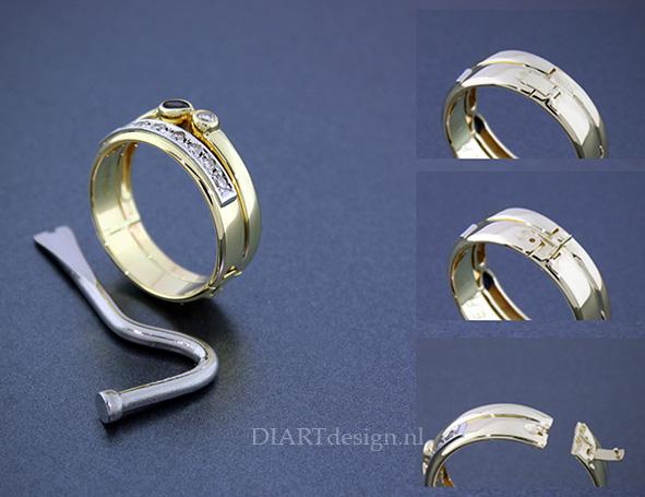 Twee ringen van de klant samengevoegd en er een scharnier en sluiting ingezet, omdat ze dikke gewrichten van de reuma heeft.