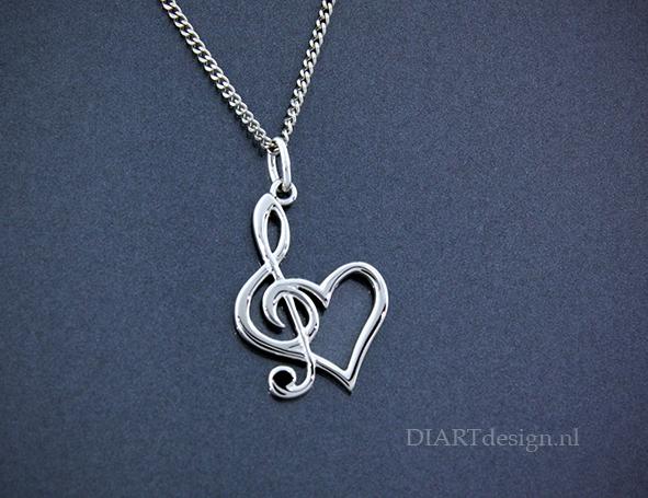 Voor de muziek liefhebber. G-sleutel met hart.