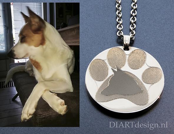 Persoonlijke hanger met het profiel van je hond. Uitgevoerd in zilver.