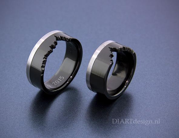 """Uit de lijn """"Klif"""". Trouwringen uit zwart en wit zirconium met een briljant."""